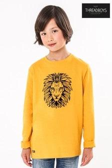 Threadboys Lion Flock Placement Print Long Sleeve Jersey