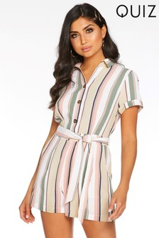 Quiz Stripe Tie Belt Playsuit