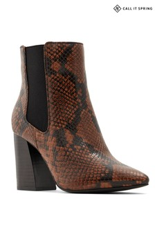 Call It Spring Snake Print Block Heel Boots