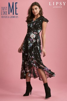 Lipsy Jenna Print Lurex Wrap Dress
