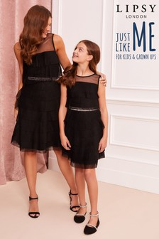 Lipsy Girl Tiered Mesh Pleated Dress