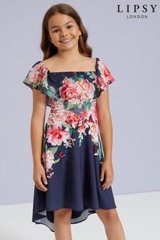 Lipsy Girl Floral Bardot Frill Dress