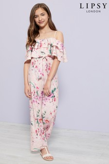 Lipsy Girl In Floral Print Ruffle Jumpsuit