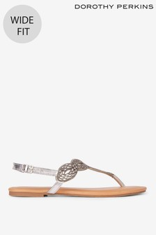 Dorothy Perkins Wide Fit Silver Freddy Embellished Toepost Sandal