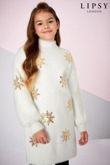 Lipsy Girl Sequin Snowflake Fluffy Tunic