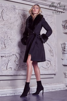 Abbey Clancy x Lipsy Belted Faux Fur Robe Coat