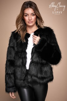 Abbey Clancy x Lipsy Panelled Faux Fur Coat