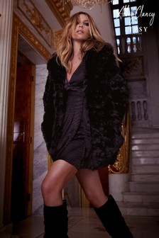 Abbey Clancy x Lipsy Textured Faux Fur Coat
