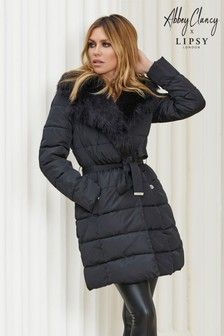 Abbey Clancy x Lipsy Padded Faux Fur Collar Padded Jacket