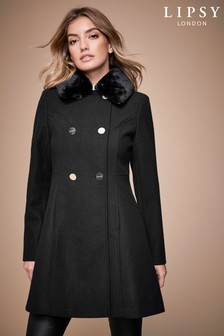 Lipsy Wool Blend Military Skater Coat