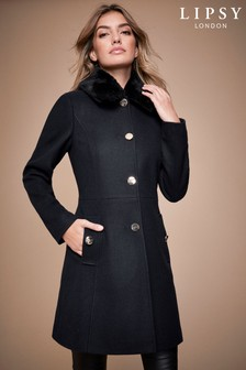 Lipsy Faux Wool Skater Coat With Removable Faux Fur Collar