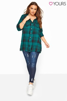 Yours Curve Check Frayed Hem Shirt