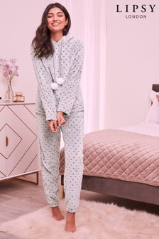 Lipsy Spot Fleece Long Set