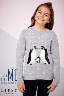 Lipsy Girl Sequin Penguin Jumper