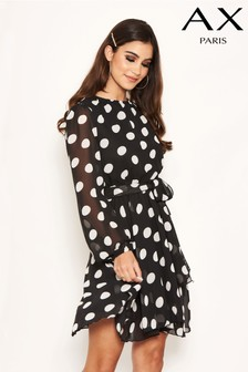 AX Paris Chiffon Polka Dot Dress