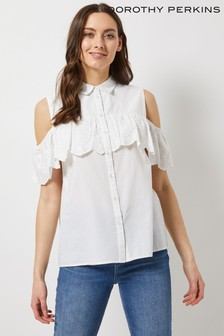 Dorothy Perkins Cold Shoulder Broderie Frill Shirt