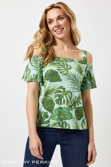 Dorothy Perkins Tropical Leaf Double Ruffle Cold Shoulder Top