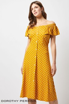 Dorothy Perkins Ochre Spot Bardot Dress