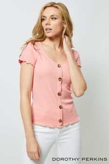 Dorothy Perkins Rib Button Through Top