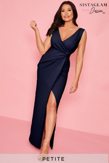Sistaglam loves Jessica Petite Ruched Wrap Maxi Dress