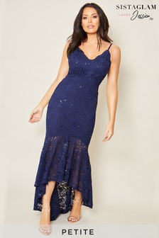 Sistaglam Loves Jessica Petite Sequin Lace Dress
