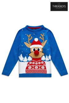 Threadboys Pom-Pom Reindeer Christmas Jumper