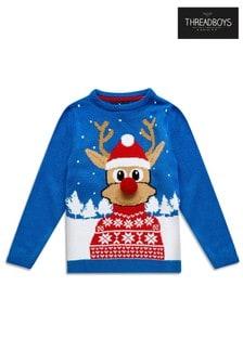 Threadboys Weihnachtspullover mit Rentiermotiv und Bommeldetail