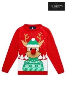 Threadboys Pom-Pom Reindeer Christmas Jumper