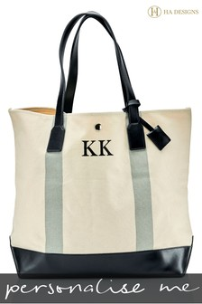 Personalised Stripe Monogram Canvas Beach Bag By HA Designs