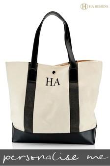 Personalised Stripe Monogram Canvas Beach Bag By HA Designs