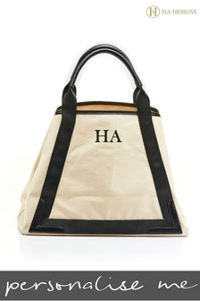 Personalised Monogram Canvas Beach Bag & Pouch By HA Designs