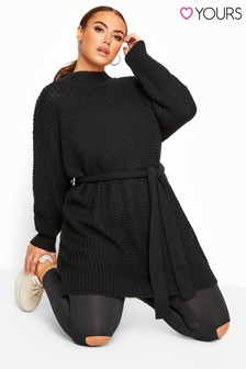 Yours Curve Belted Knitted Tunic Jumper
