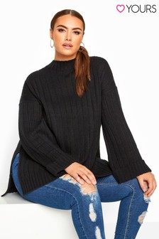 Yours Curve Ribbed Wide Sleeve Knitted Jumper