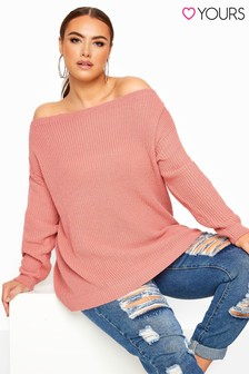 Yours Curve Bardot Knitted Jumper