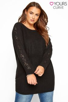 Yours Pointelle Sleeve Knitted Jumper