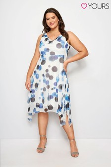 Yours Curve Spot Midi Dress With Cowl Neckline