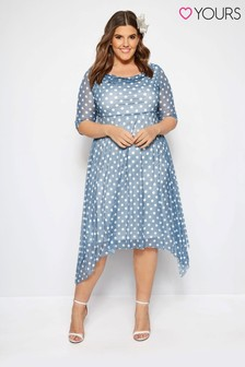 Yours Curve Polka Dot Midi Dress With Cowl Neckline