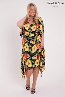 Sukienka w kwiaty Scarlett & Jo z asymetrycznym dołem