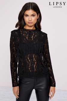 Lipsy Lace Trim Insert Long Sleeve Shell Top