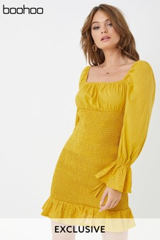 Boohoo Shirred Mini Dress With Broderie Trim