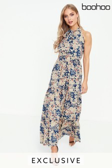 Boohoo Floral Print Frill Hem Maxi Dress