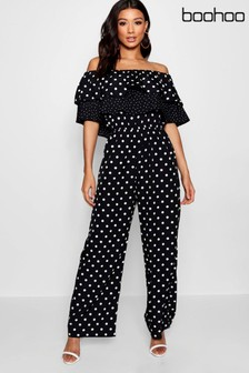 Boohoo Mixed Match Spot Ruffle Jumpsuit