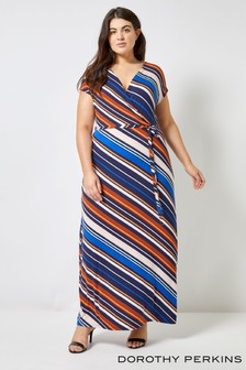 Dorothy Perkins Curve Stripe Wrap Maxi Dress