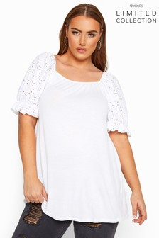 Yours Limited Collection Curve Broderie Anglaise Puff Sleeve Top