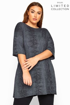 Yours Limited Collection Curve Snake Print Oversized Top