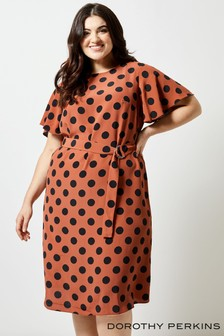 Dorothy Perkins Curve Spot Flutter Midi Dress