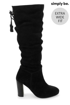 Simply Be Super Curvy Calf Slouch Heel Knee-High Boots