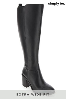 Simply Be Extra Wide Fit Super Curvy Calf Leather Knee-High Block Heel Boots