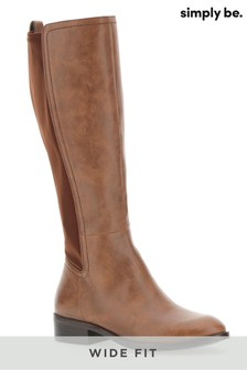 Simply Be Wide Fit Stretch Back Knee Boots