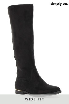 Simply Be Wide Fit Super Curvy Calf Lace Back High Leg Boots